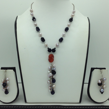 Freshwater pink pearls and blue sandstone silver c...