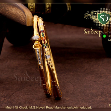 916 Gold Classic Daily Wear Bangle  by Saideep Jewels