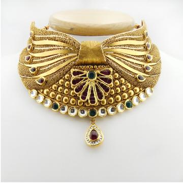 22KT Gold Antique Bridal Necklace Set RHJ-2648