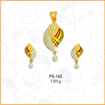916 Gold Colorful Meenakari CZ Pendant Set PS-145