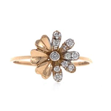 18kt / 750 Rose gold flower diamond ladies ring 9LR179