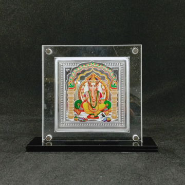 Pure Silver Designer Coin of Ganesha in Color Prin... by