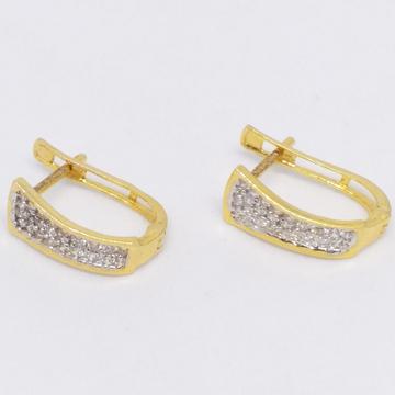18 KT 750 Gold Daimond Earring type J style Bali by Zaverat