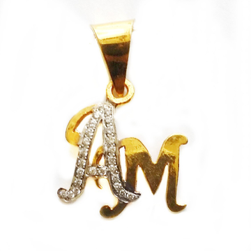 22k Gold Stylish AM Monogram Pendant MGA - MGP011
