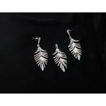92.5 Sterling Silver Leaf Shape Rodyam Pendant Set Ms-3850
