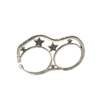 925 sterling silver modern style Two Finger ring mga - lrs0091