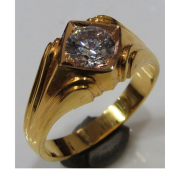 22kt gold close setting CZ solitaire gents ring gr-003