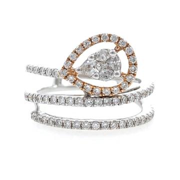 18kt / 750 White Gold Fancy Diamond Ladies Ring 9LR225