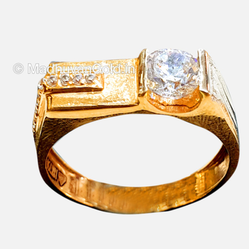 18KT Rose Gold Modern CZ Gents Ring