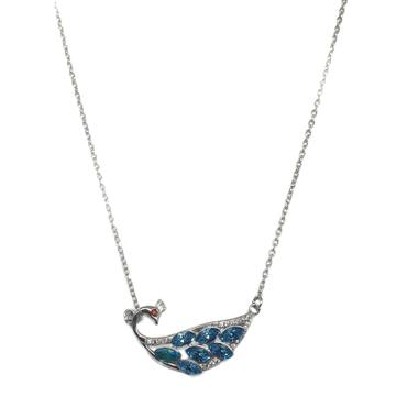925 Sterling Silver Peacock Shaped Necklace MGA - NKS0007