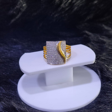 22KT/916 Yellow Gold CrisTos Fancy Cz Ring For Men
