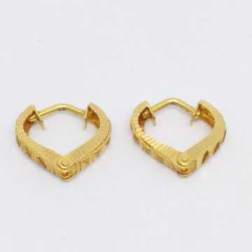 18 KT 750 Gold Plain Simple Heart Shape Bali by Zaverat