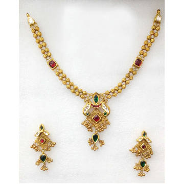 22KT Colorful Bridal Necklace Set-006