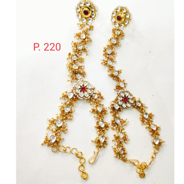 Traditional Gold Tone Kundan & Moti Hath Phool For Women 1402