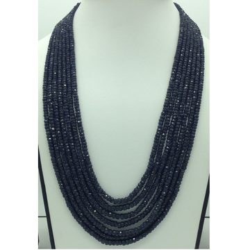 Natural Blue Sapphires Round Faceted7Layers Neck...