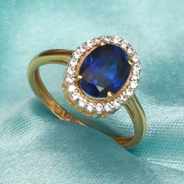 916 Gold Fancy Blue Stone Ring PJ-R019