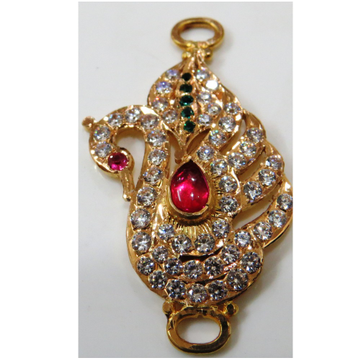 22kt gold close setting cz chain side peacock pendant(moguppu)-hmp-002