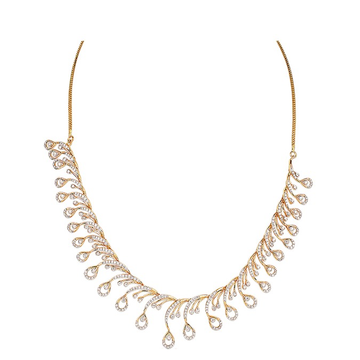 22kt gold and diamond studded drop design necklace jkn003