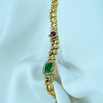 916 Gold Green Stone Antique Bracelet lB-581  by