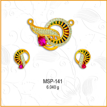 22KT Gold Round Design CZ Mangalsutra Pendant Set MSP-141