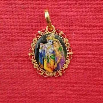 22KT Gold Antique Radha Krishna Photo Pendant