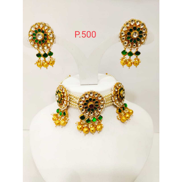 Beautiful green & gold plated pearl choker set 1188