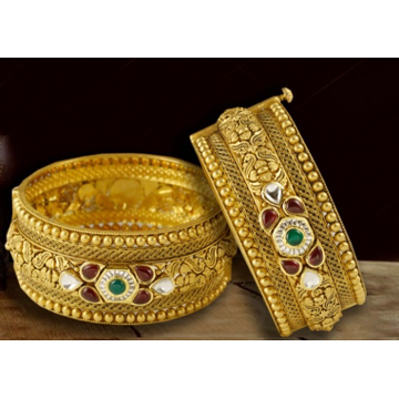 22Kt Gold Antique Bridal Kada BJ-B008 by