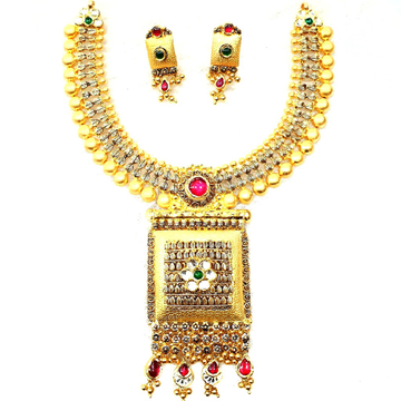 916 gold antique necklace set mga - gn017