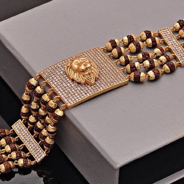 5 Line Gold plated Rudraksha bracelet by