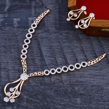 18Ct CZ Diamond Rose Gold Necklace Set RN168