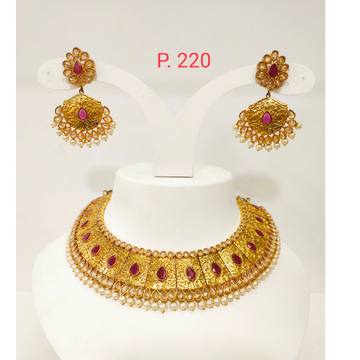 Antique Gold plated choker set with Red(ruby) Stone & Bead 1275