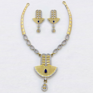 916 Gold Attractive CZ Necklace Set SK-N011 by