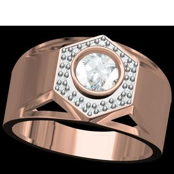 18kt cz rose gold soliter gents ring