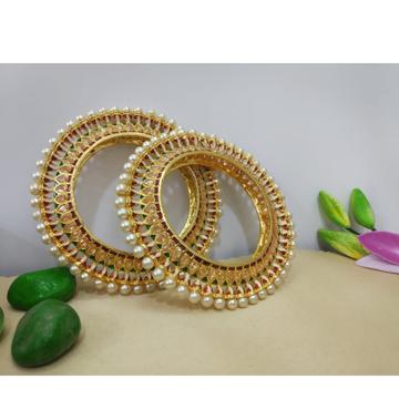 Gold plated traditional stone & pearl studded kada...