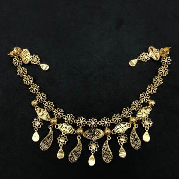 22K Gold Antique Mango Design Necklace Set by