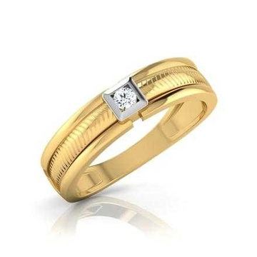 22KT Plain Gold CZ Gents Ring