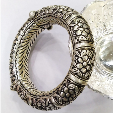Puran real silver rajwada kada with floral motifs...