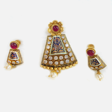 22KT Gold Antique Colorful Pendant Set RHJ-5594