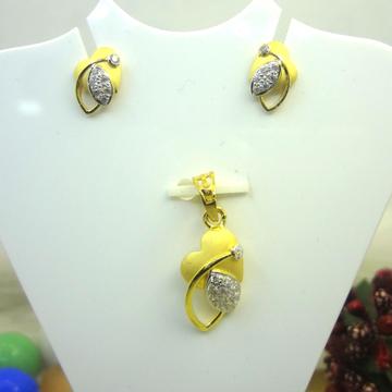 916 GOLD CZ DIAMOND PENDANT SET by