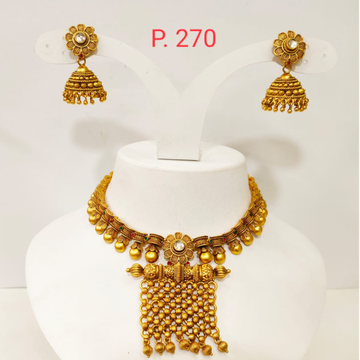 Antique Gold plated Beads & Flower Design choker Necklace set 1352