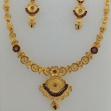 916 gold yellow antique short set by Vinayak Gold