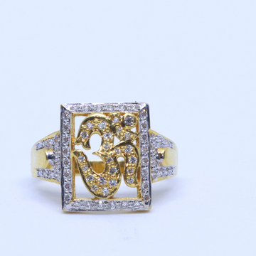 22KT / 916 Gold Yellow CZ OM Ring For Men GRG0049