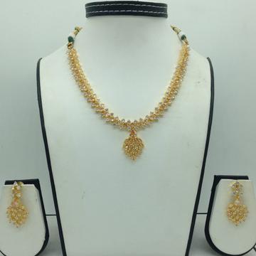 Golden And White CZ Stones Necklace Set JNC0162