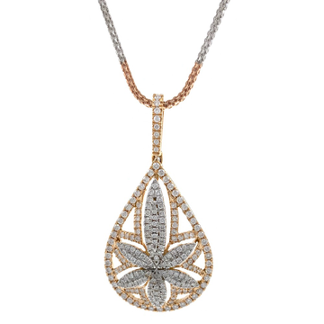 Six Petal Flower & Drop diamond pendant in 18k rose gold 9SHP15