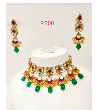 kundan work choker necklace with pink stone and green beads 1181