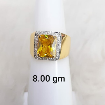 yellow stone solitaire gent's ring by