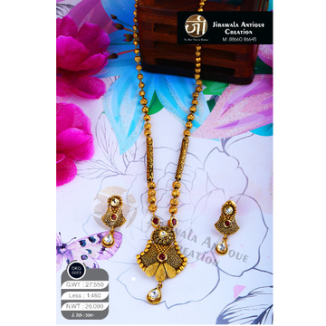 22KT Gold Antique Long Necklace Set DKG-0023