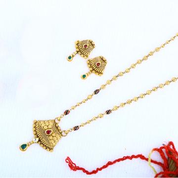 916 Gold Jadtar Pendant Set DKG - 0040