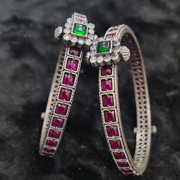 Puran enchanting ruby studded temple bangles with...