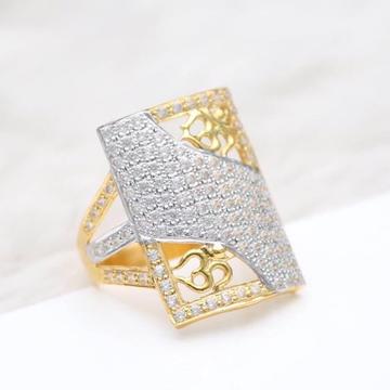 916 Gold CZ Diamond Long Ring RH-GR65